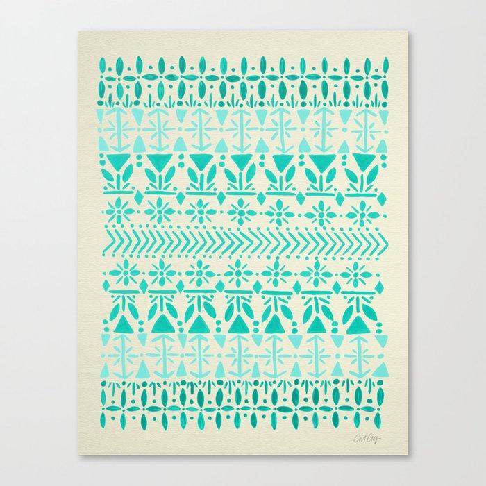 Norwegian Pattern – Aqua on White Canvas Print