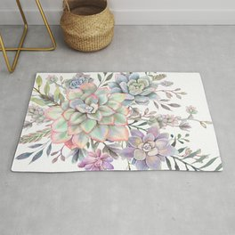 succulent watercolor 8 Rug