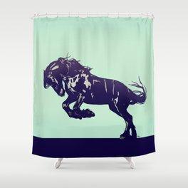Dark Blue Stallion Shower Curtain