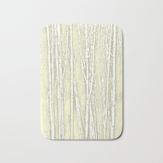 Birch Trees Pattern Soft Moss Bath Mat