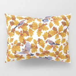 Eurasian jay birds seamless pattern with golden oak leaves and nuts Pillow Sham
