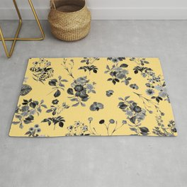 Black and White Floral on Yellow Rug