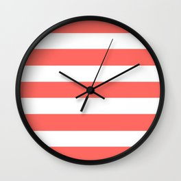 Pastel red - solid color - white stripes pattern Wall Clock