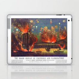 NEW YORK FIREWORKS city old map Father Day art print poster Laptop & iPad Skin