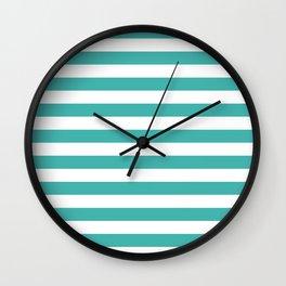 Narrow Horizontal Stripes - White and Verdigris Wall Clock