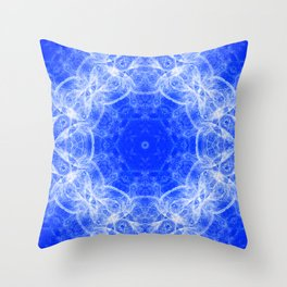 Fractal lace mandala in blue and white Throw Pillow