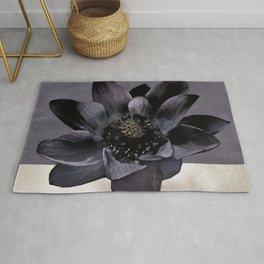 Black Lotus Watercolor Digital Art 2 Rug