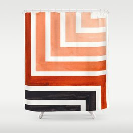 Burnt Sienna Mid Century Modern Watercolor Colorful Ancient Aztec Art Pattern Minimalist Geometric P Shower Curtain