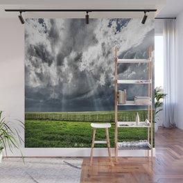 Beams - Sunbeams Illuminate Colorado Landscape On Stormy Day Wall Mural