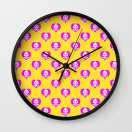 Skull heart pattern, punk rock skull, punk girl, love kills, yellow pink hearts, girly emo skull Wall Clock