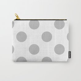 Large Polka Dots - Silver Gray on White Carry-All Pouch