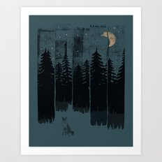 A Fox in the Wild Night... Art Print