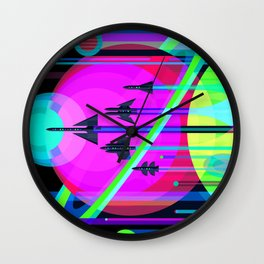 NASA Outer Space Saturn Shuttle Retro Poster Futuristic Explorer Black Best Quality Wall Clock