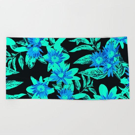 Bright Blue Vintage Blooms Beach Towel