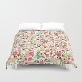 Pug floral dog breed pet pugs must have gifts for unique dog breed owners Duvet Cover