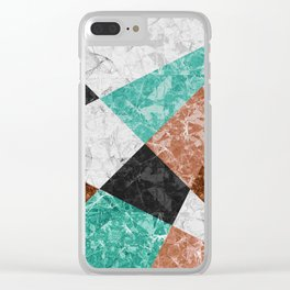 Marble Geometric Background G434 Clear iPhone Case