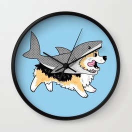 Another Corgi in a Shark Suit Wall Clock