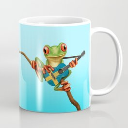 Tree Frog Playing Acoustic Guitar with Flag of Sweden Coffee Mug