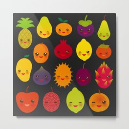 kawaii fruit Pear Mangosteen tangerine pineapple papaya persimmon pomegranate lime Metal Print