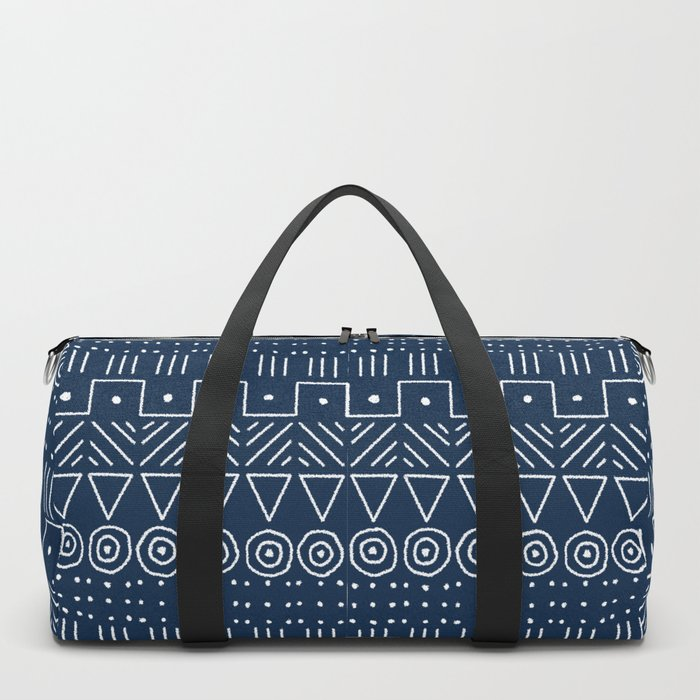 Mudcloth Style 1 in Navy Duffle Bag