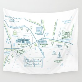 Skaneateles, New York Illustrated Calligraphy Print Wall Tapestry