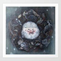 hedgehog Art Prints featuring Hedgehog by Marjolein Caljouw