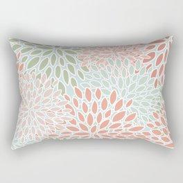 Festive, Flower Blooms, Green, Aqua and Pink, Floral Prints Rectangular Pillow