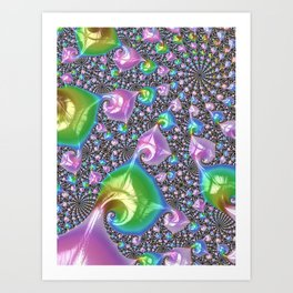 Girly Feminine Cute Shiny Candy Pastel Rainbow Abstract Fractal Pattern Digital Graphic Art Design Art Print