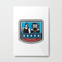 Pressure Washer Worker Truck Crest USA Flag Retro Metal Print