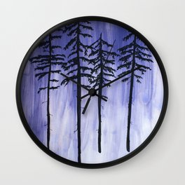 Lavender Pine Trees Wall Clock