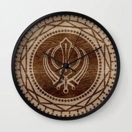 Khanda symbol on wooden texture Wall Clock