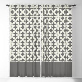 Pantone Cannoli Cream Square Petal Pattern on Pantone Pewter Blackout Curtain