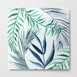Turquoise Blue Palm Leaves Metal Print