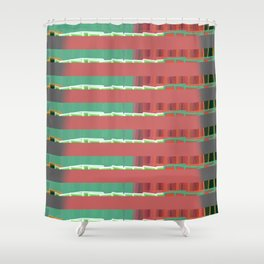 Tiny Block Houses All in a Row Shower Curtain