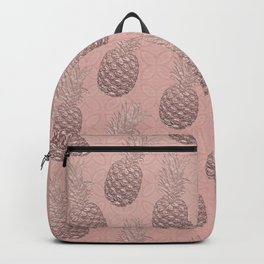 Precious Pineapple Pattern Rose Gold Backpack