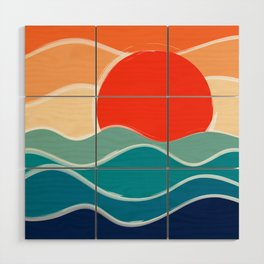 Retro 70s and 80s Color Palette Mid-Century Minimalist Nature Waves and Sun Abstract Art Wood Wall Art