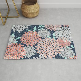 Leaves and Floral Prints, Navy Blue, Aqua, Gray and Coral Rug