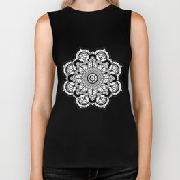 Black and White Flower Biker Tank