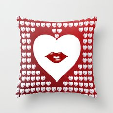 Loving Hearts and Lips Throw Pillow