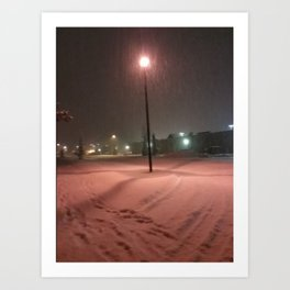 Pink lights and snowy nights Art Print