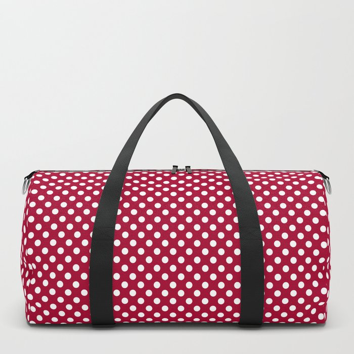 Red and Polka White Dots Duffle Bag