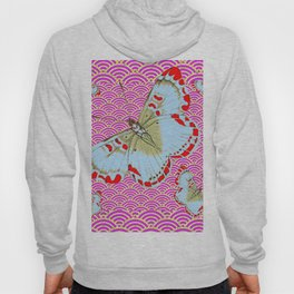 ORIGINAL ORIENTAL STYLE RED-WHITE EXOTIC BUTTERFLY PINK ART Hoody