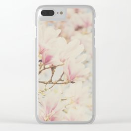 pink magnolia blossoms ... Clear iPhone Case