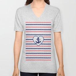 Nautical blue heart anchor coral modern polka dots stripes Unisex V-Neck