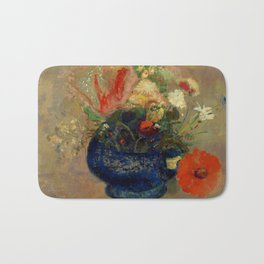 """Odilon Redon """"Flowers in a Blue Cup (Fleurs dans une coupe bleue)"""" Bath Mat"""