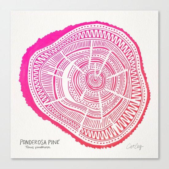 Ponderosa Pine – Pink Ombré Palette Canvas Print