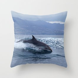 Wild and free bottlenose dolphin Throw Pillow