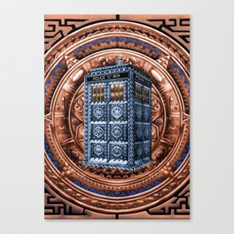 Aztec Tardis Doctor Who Full Color Pencils Sketch Canvas Print