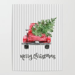 Red Truck With Christmas Tree Poster