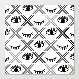 Original Black and White Eyes Design Canvas Print